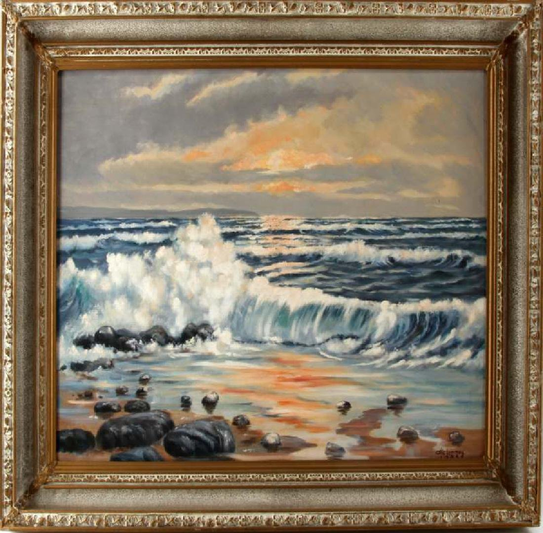 1953 Otis Lammey Seascape Painting On Canvas