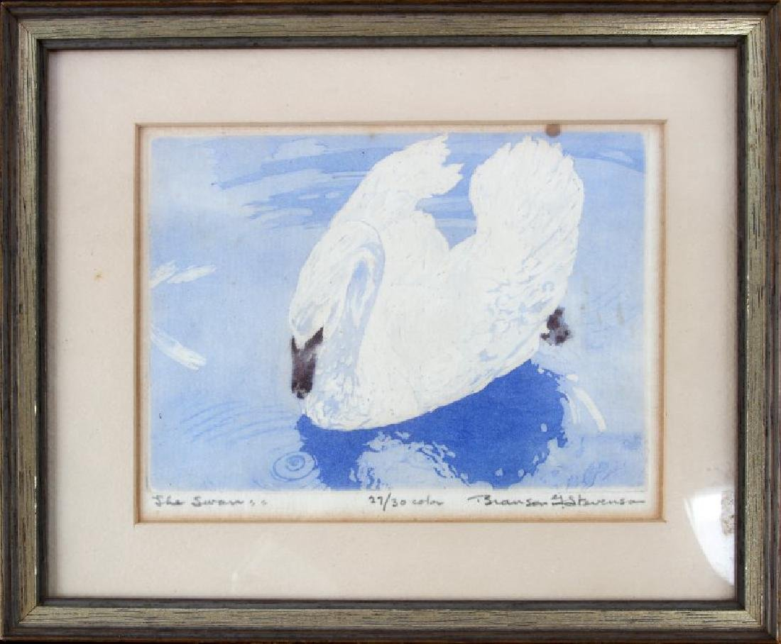 THE SWAN COLORED LITHO PRINT BRANSON STEVENSON