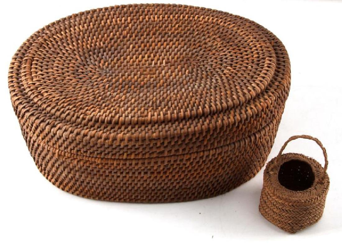 NATIVE AMERICAN LONG LEAF PINE WOOVEN BASKET W LID