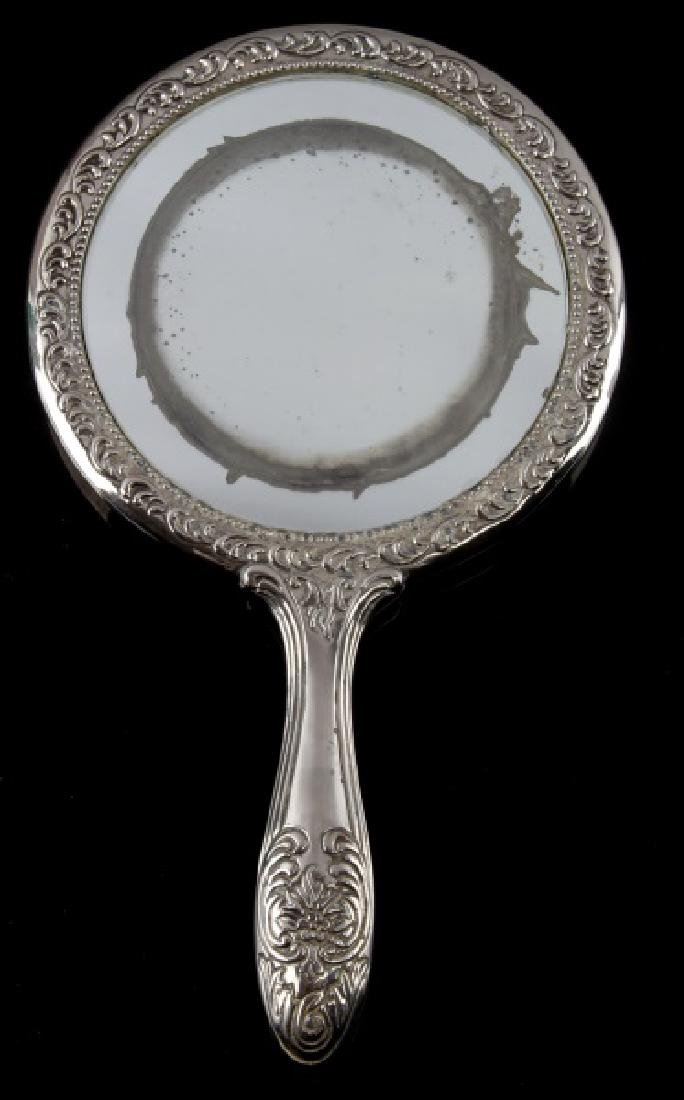 ANTIQUE STERLING SILVER CONTINENTAL HAND MIRROR