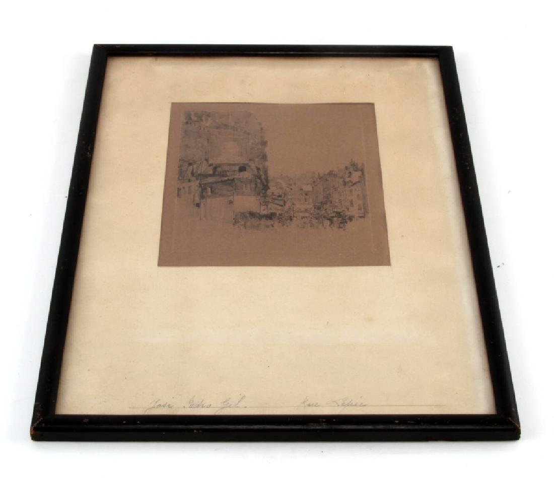 JOSE PEDRO GIL SIGNED DRYPOINT CITYSCAPE DRAWING