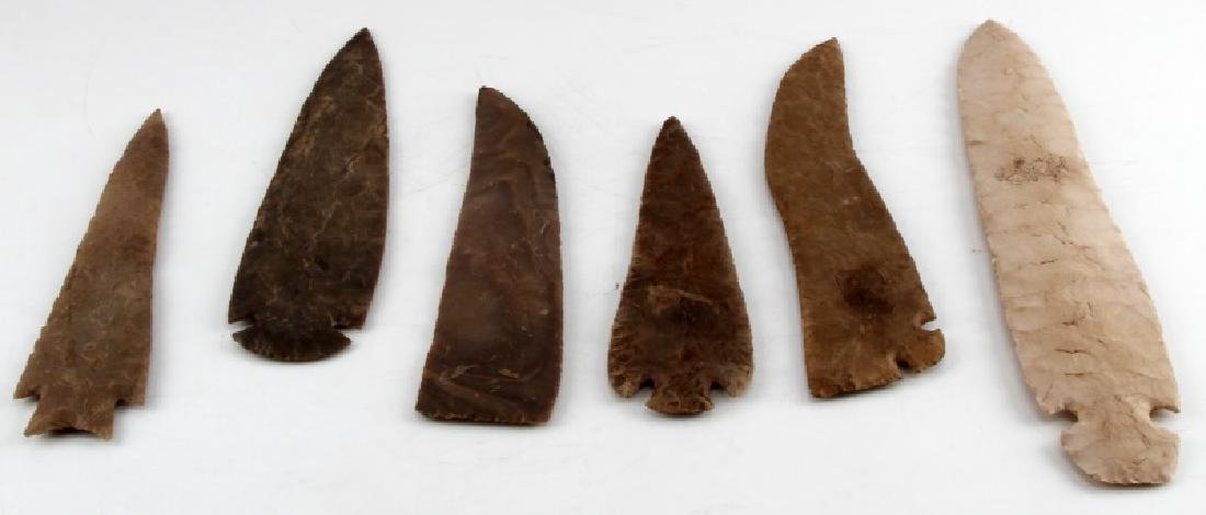 LARGE NATIVE AMERICAN SPEAR HEAD AND SCRAPER LOT