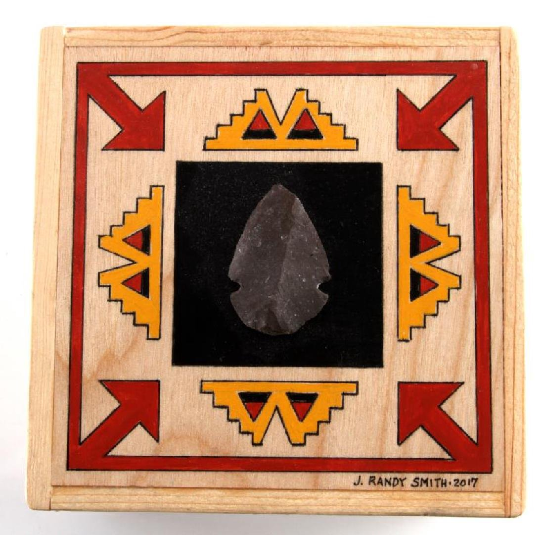 Small Hand Made Pine & Birch Tribal Arrowhead Box