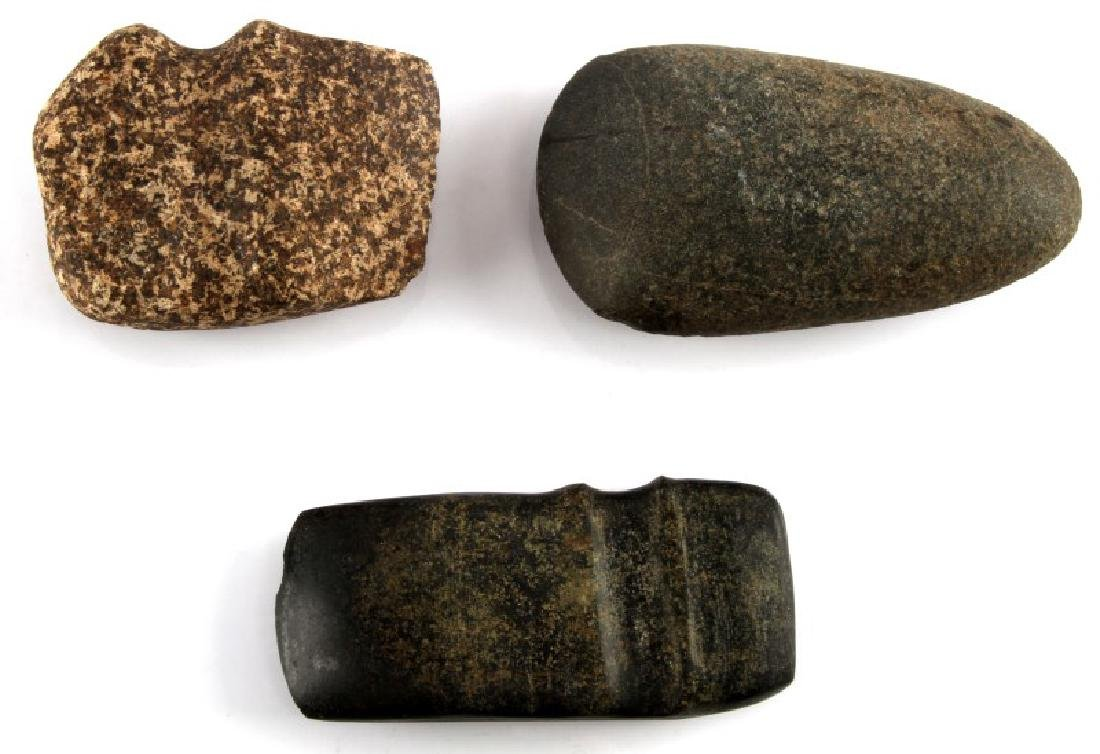 LOT OF 3 ARCHAIC GROOVED AXE HEAD AND CELT STONE