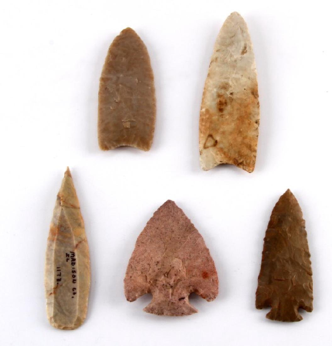 LOT OF 5 ARROWHEAD POINTS SNYDER CLOVIS ILLINOIS