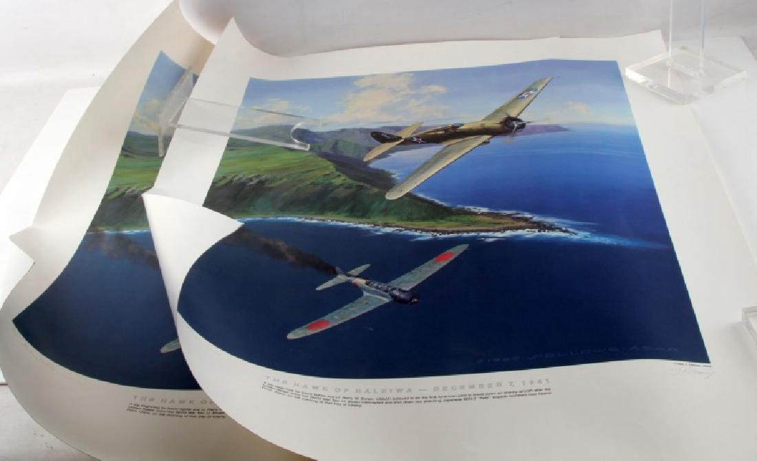 LTD ED WWII HAWK OF HALEIWA LITHOGRAPH SIGNED BY 2