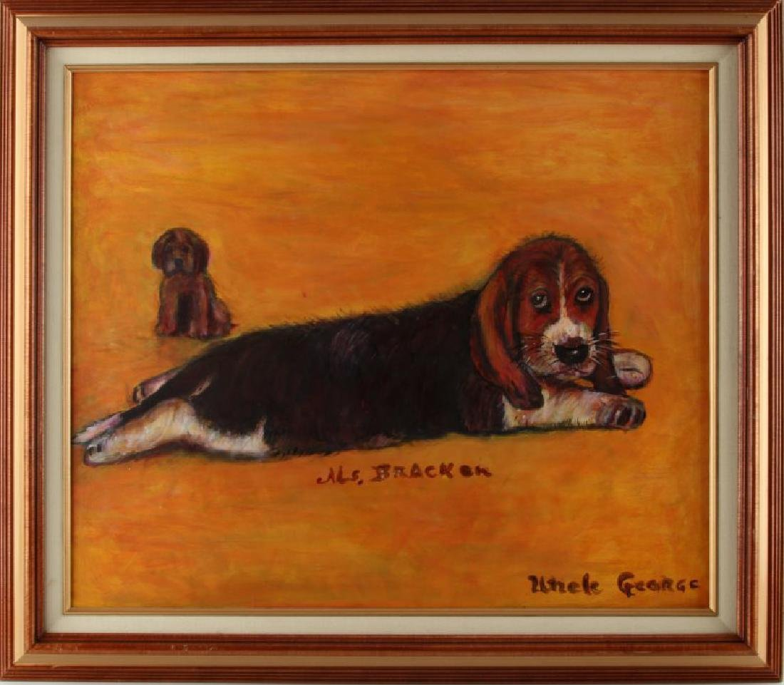 BEAGLE DOG FOLK PAINTING BY UNCLE GEORGE