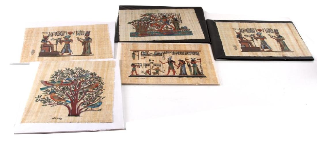 LOT OF 5 HAND CRAFTED EGYPTIAN PAPYRUS PAINTINGS