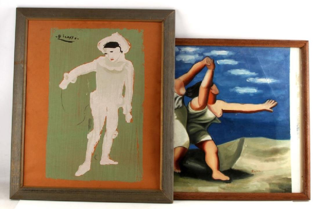 AFTER PICASSO PAINTING & SERIGRAPH OF PIERROT