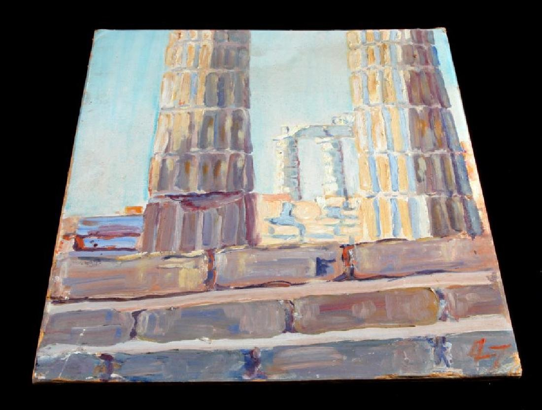 LUISE JODL CITYSCAPE OF GREEK RUINS OIL PAINTING