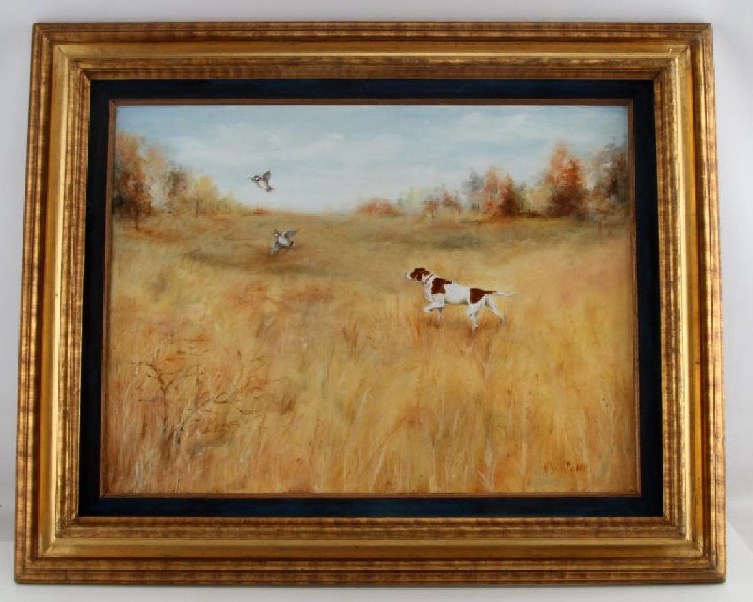 HUNTING DOG FLUSHING OUT PHEASANTS OIL PAINTING