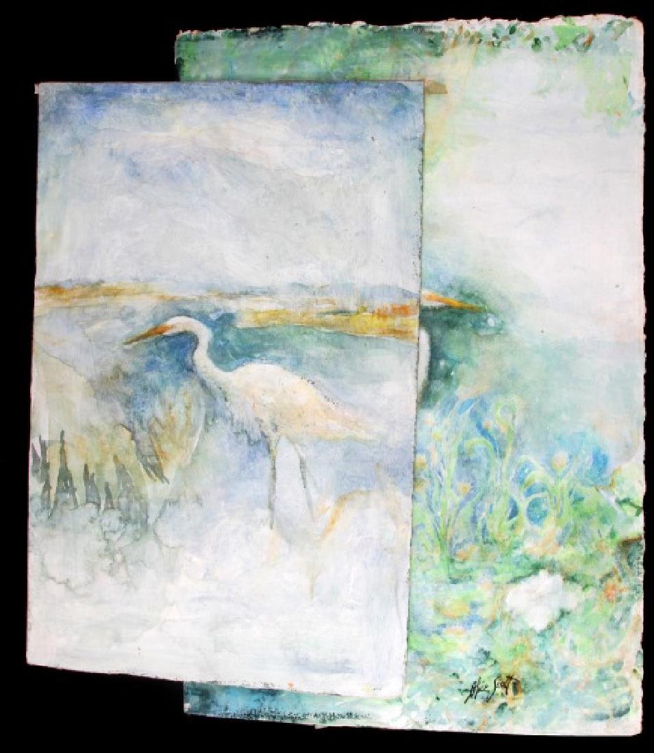 ALICE SCOTT FLORIDA EGRET WATERCOLOR PAINTING LOT