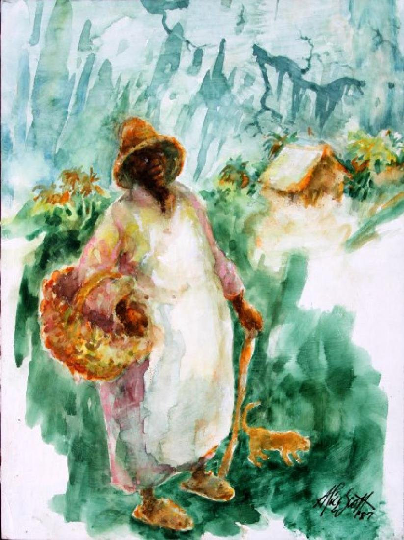 ALICE SCOTT AMERICAN SOUTH WATERCOLOR PAINTING