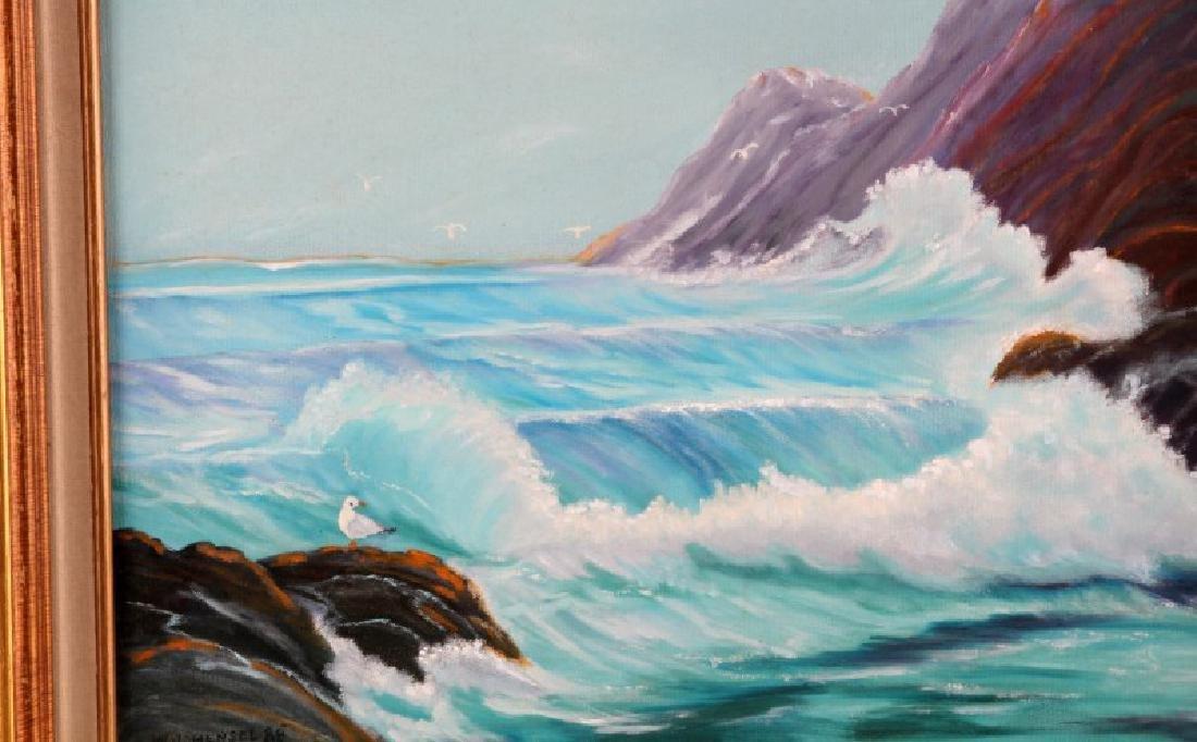HENSEL SEASCAPE OCEANFRONT OIL  PAINTING - 2