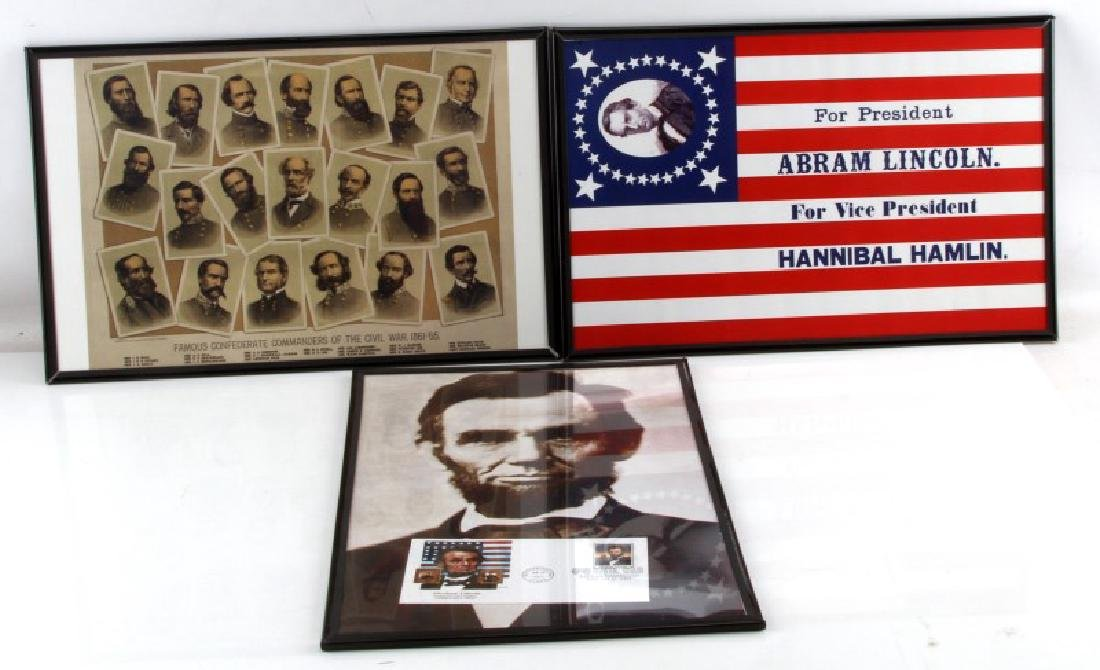 3 FRAMED CIVIL WAR THEMED PRINT REPRO LOT LINCOLN