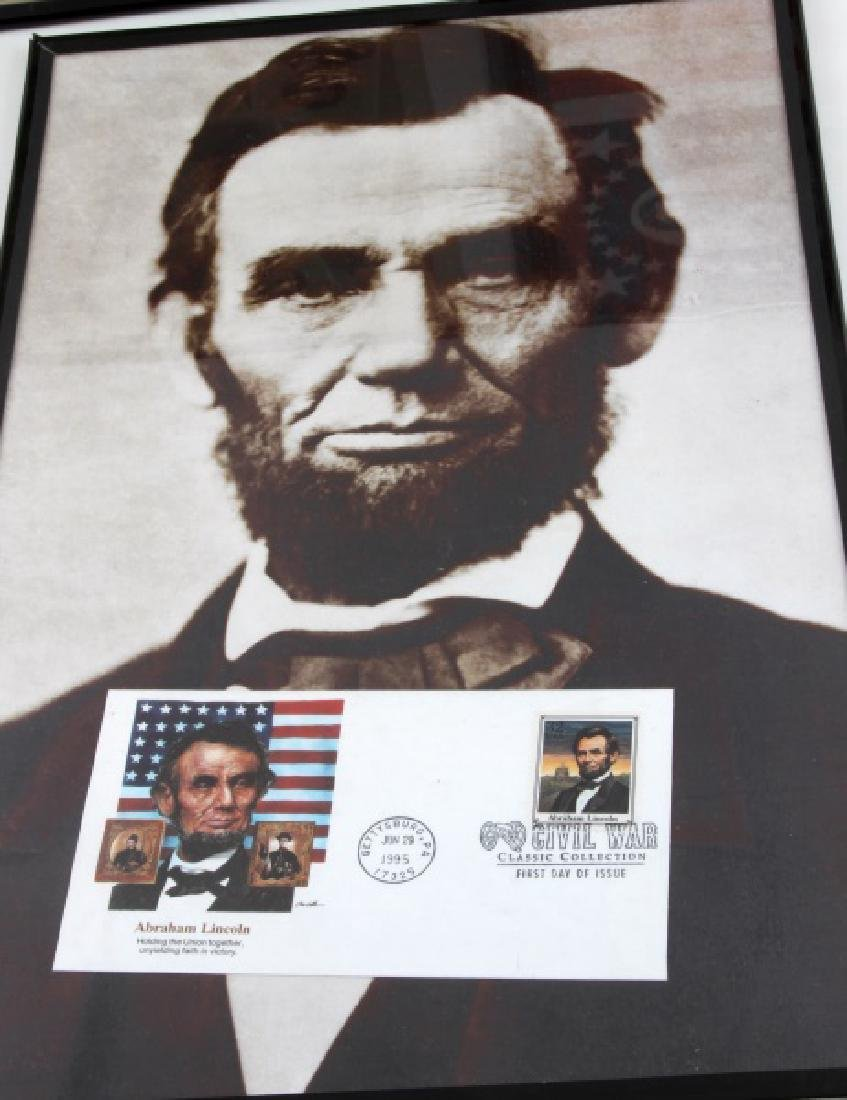 3 FRAMED CIVIL WAR THEMED PRINT REPRO LOT LINCOLN - 4