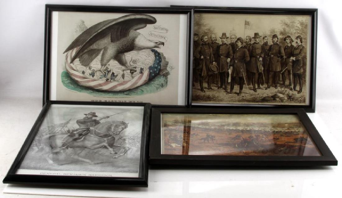 6 FRAMED CIVIL WAR LITHOGRAPH REPRODUCTION LOT