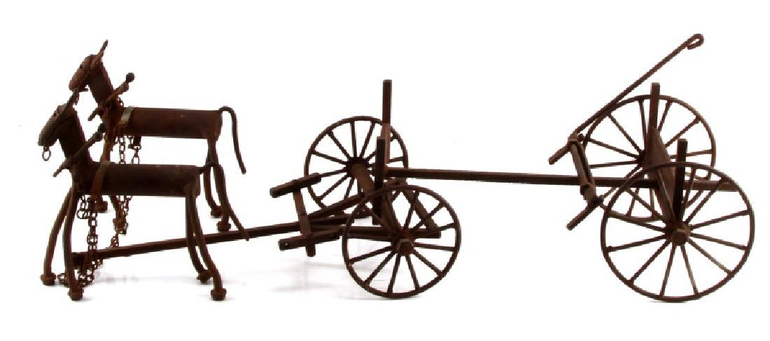 ANTIQUE IRON LUMBER CART AND 2 DRAFT HORSE MODEL