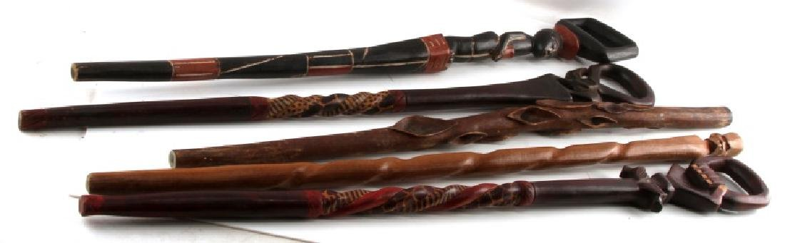 LOT OF 5  WOODEN AFRICAN WALKING CANE STICKS