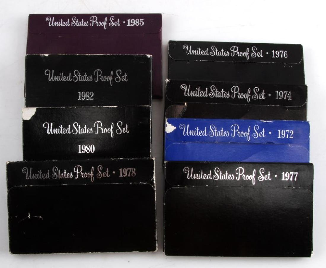 UNITED STATES COIN PROOF SET 1972 TO 1985 LOT OF 8