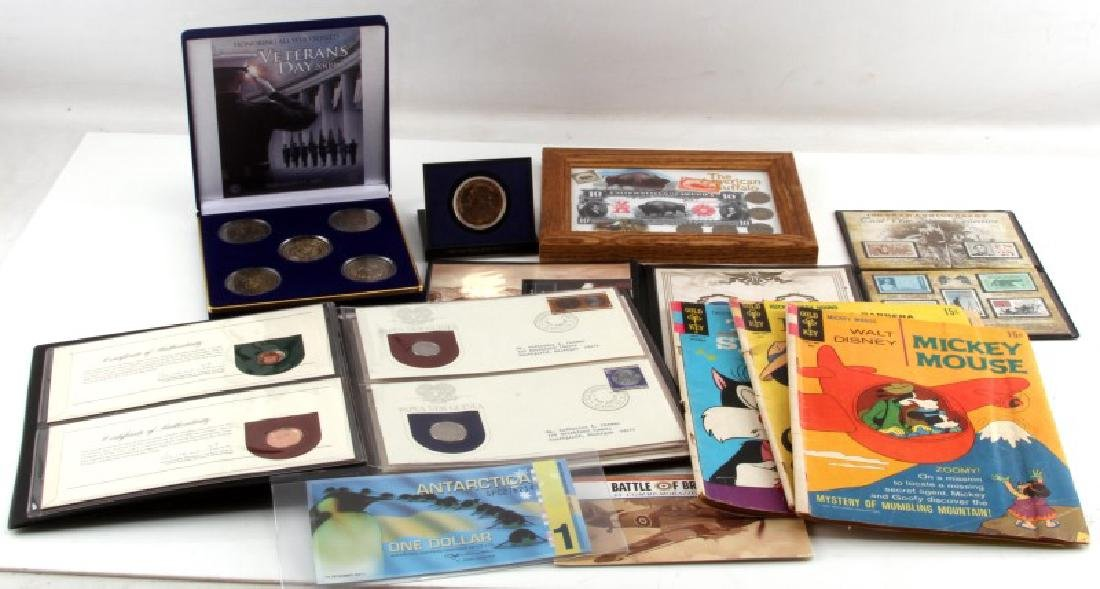COIN MEDAL STAMP AND COMIC COLLECTABLE LOT