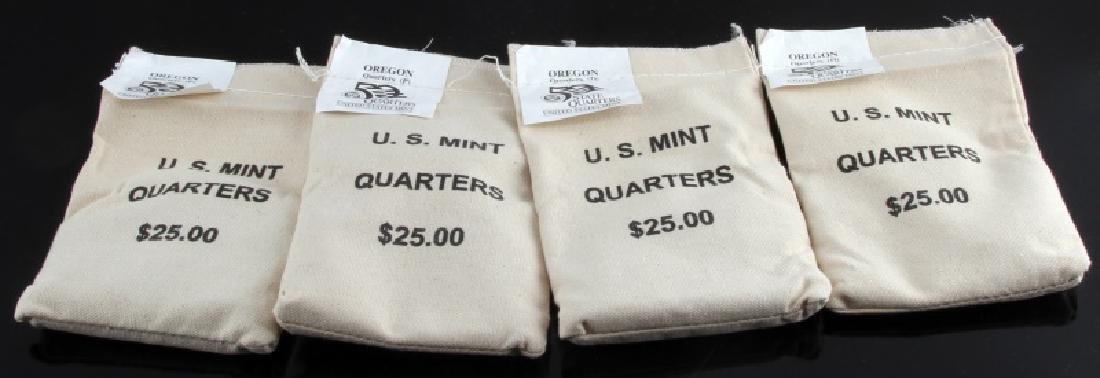 4 SEALED $25 US MINT QUARTER BAGS OREGON P&D