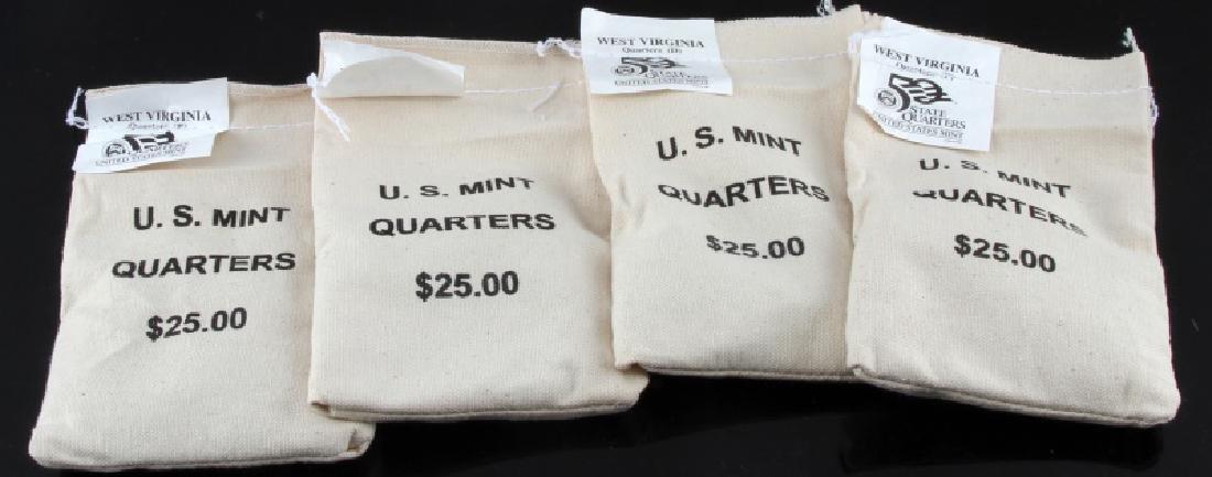 4 SEALED $25 US MINT QUARTER BAGS WEST VA P&D