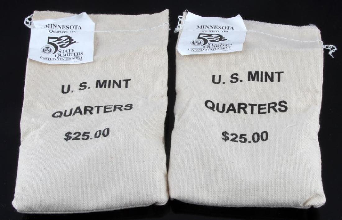 2 SEALED $25 US MINT QUARTER BAGS MINNESOTA P&D