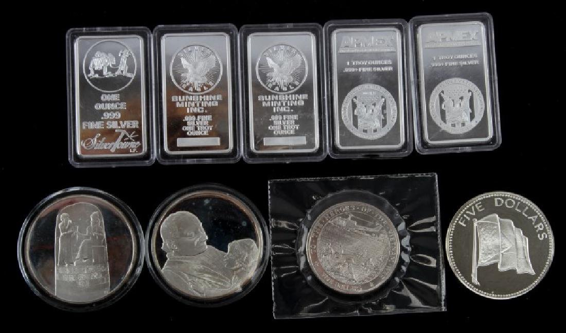 .999 SILVER BAR ROUNDS AND COIN LOT