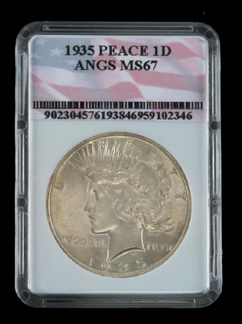 1935 SILVER PEACE DOLLAR UNC MINT STATE COIN