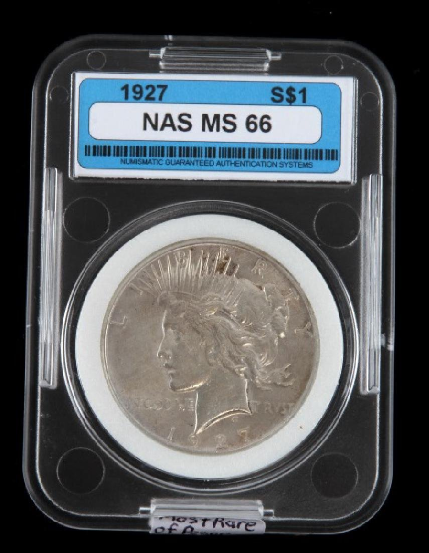 1927 SILVER PEACE DOLLAR UNC MINT STATE COIN
