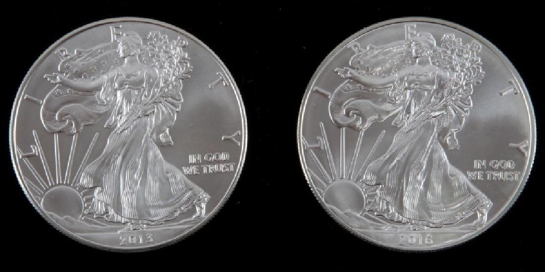 2 AMERICAN EAGLE 1OZ SILVER DOLLAR COIN LOT
