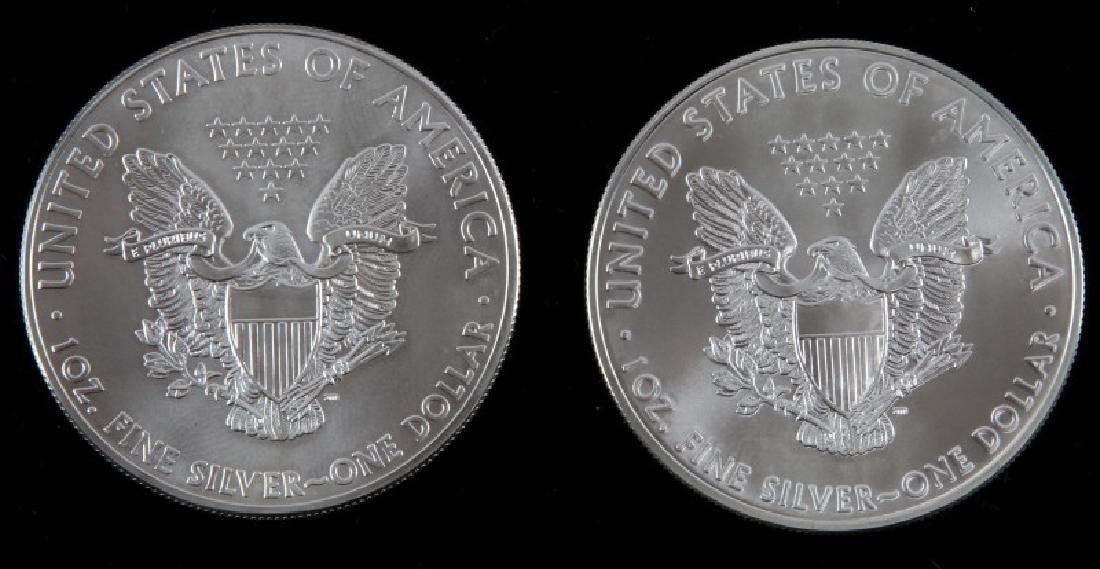 2 AMERICAN EAGLE 1OZ SILVER DOLLAR COIN LOT - 2
