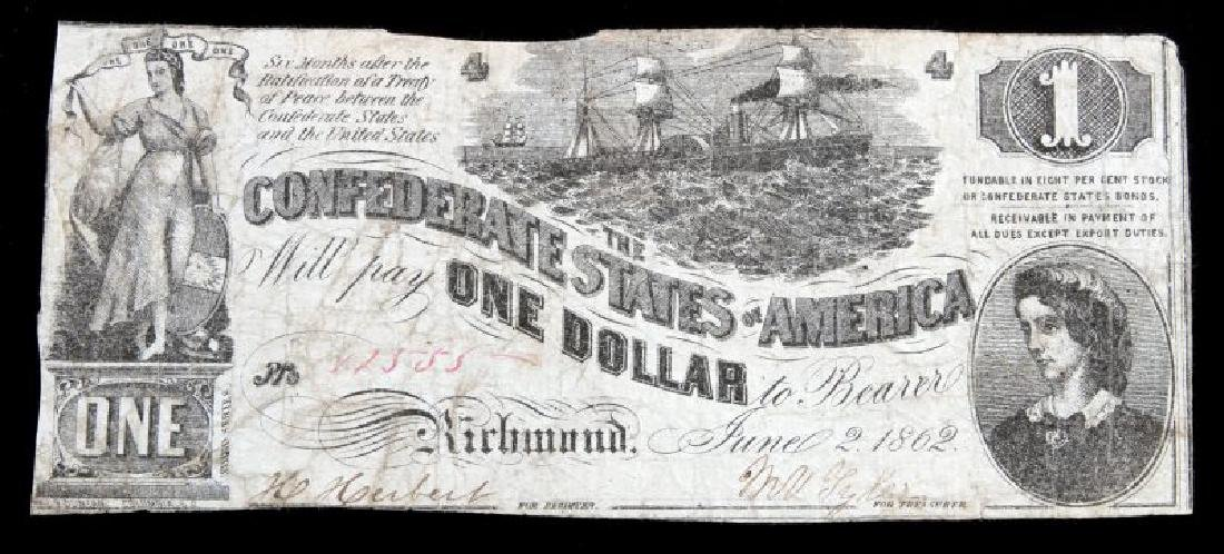 CONFEDERATE STATES BANK NOTE 1862 RICHMOND