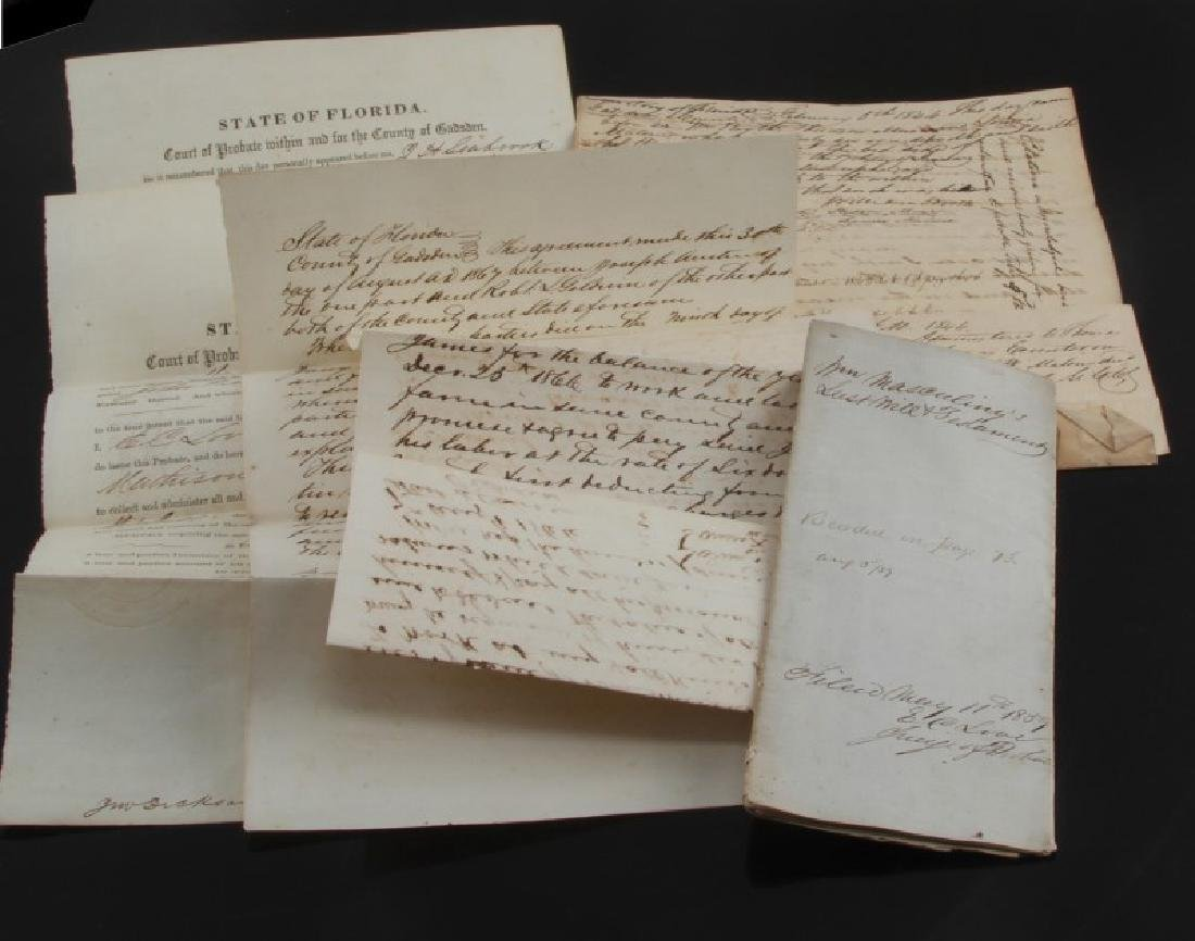 COLLECTION OF FLORIDA 1840'S DOCUMENTS W SLAVE