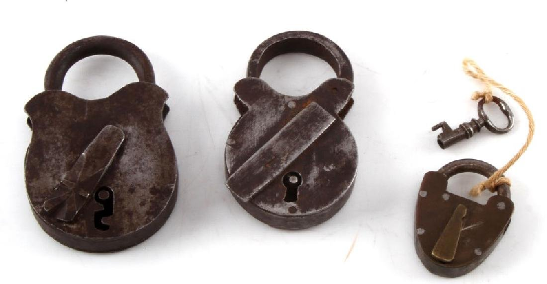 LOT OF 3 EARLY & CIVIL WAR ERA CAST IRON PADLOCKS