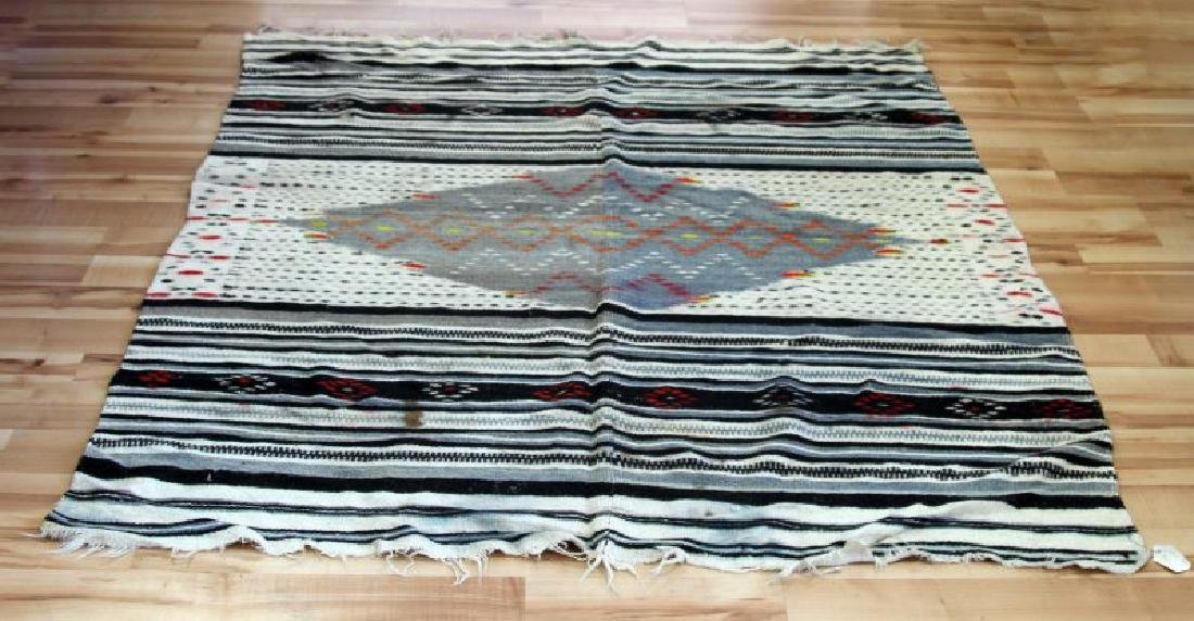 ANTIQUE MEXICAN CHIMAYO WOOL SERAPE BLANKET