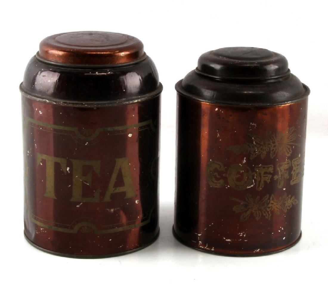 VINTAGE ALUMINUM COFFEE AND TEA CANISTER LOT