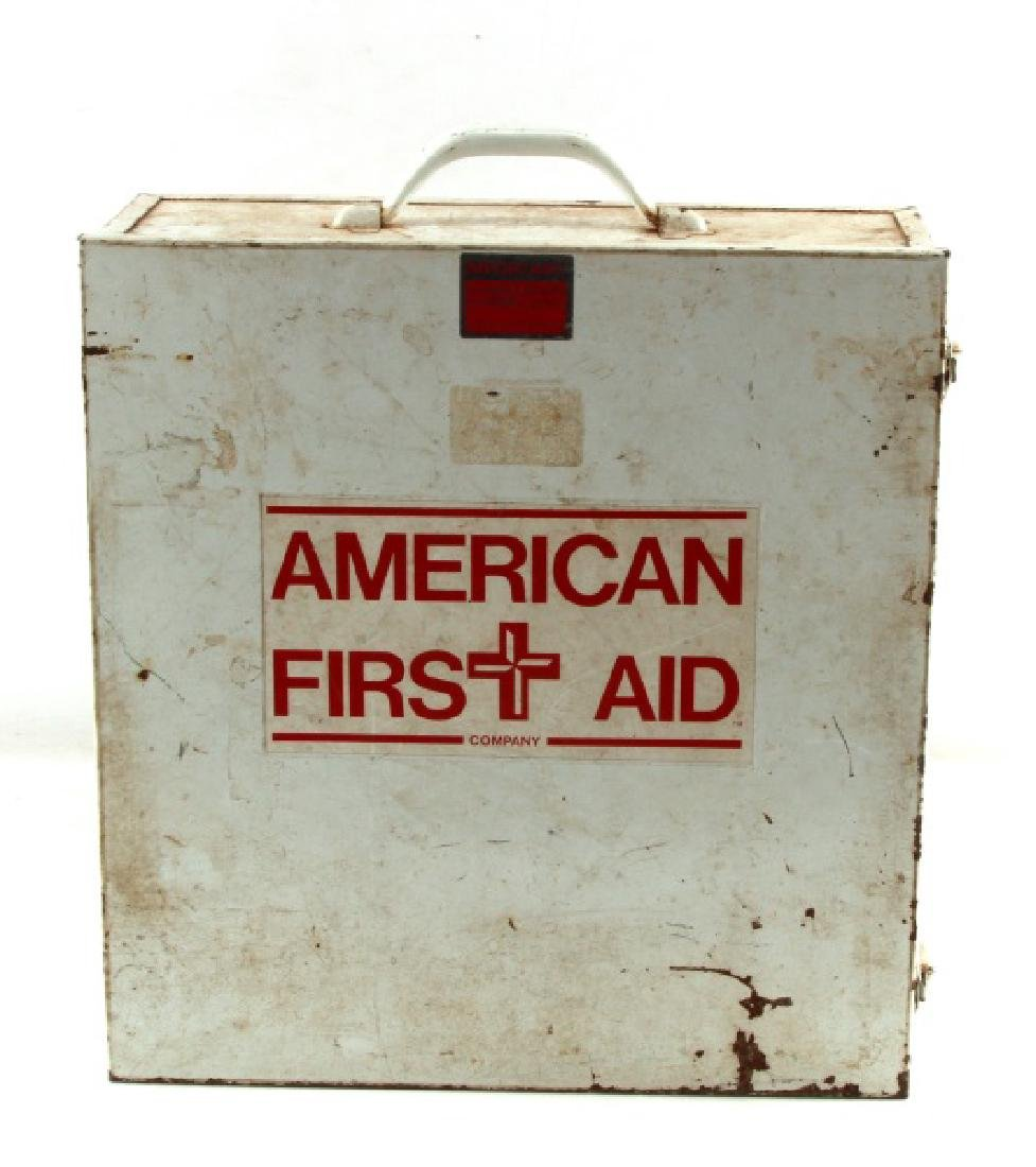 CIRCA 1970'S OSHA FIRST AID KIT BOX WITH CONTENTS