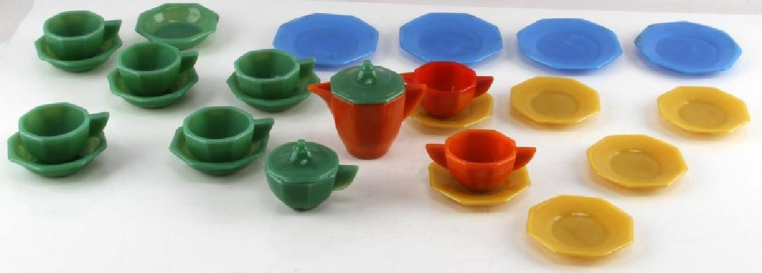YOUTH COLORED JADEITE 27 PIECE TEA SERVING SET