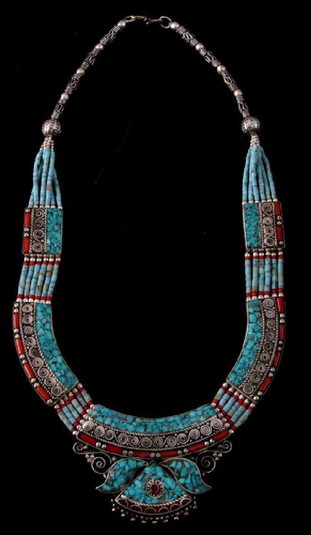 HANDMADE TIBETAN TURQUOISE AND CORAL NECKLACE