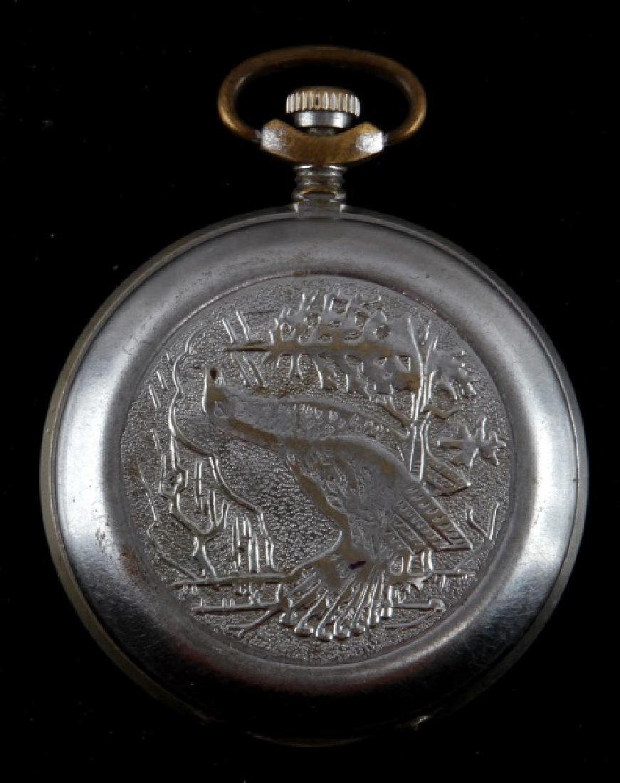 VINTAGE RUSSIAN POCKET WATCH WITH BIRD DESIGN CASE