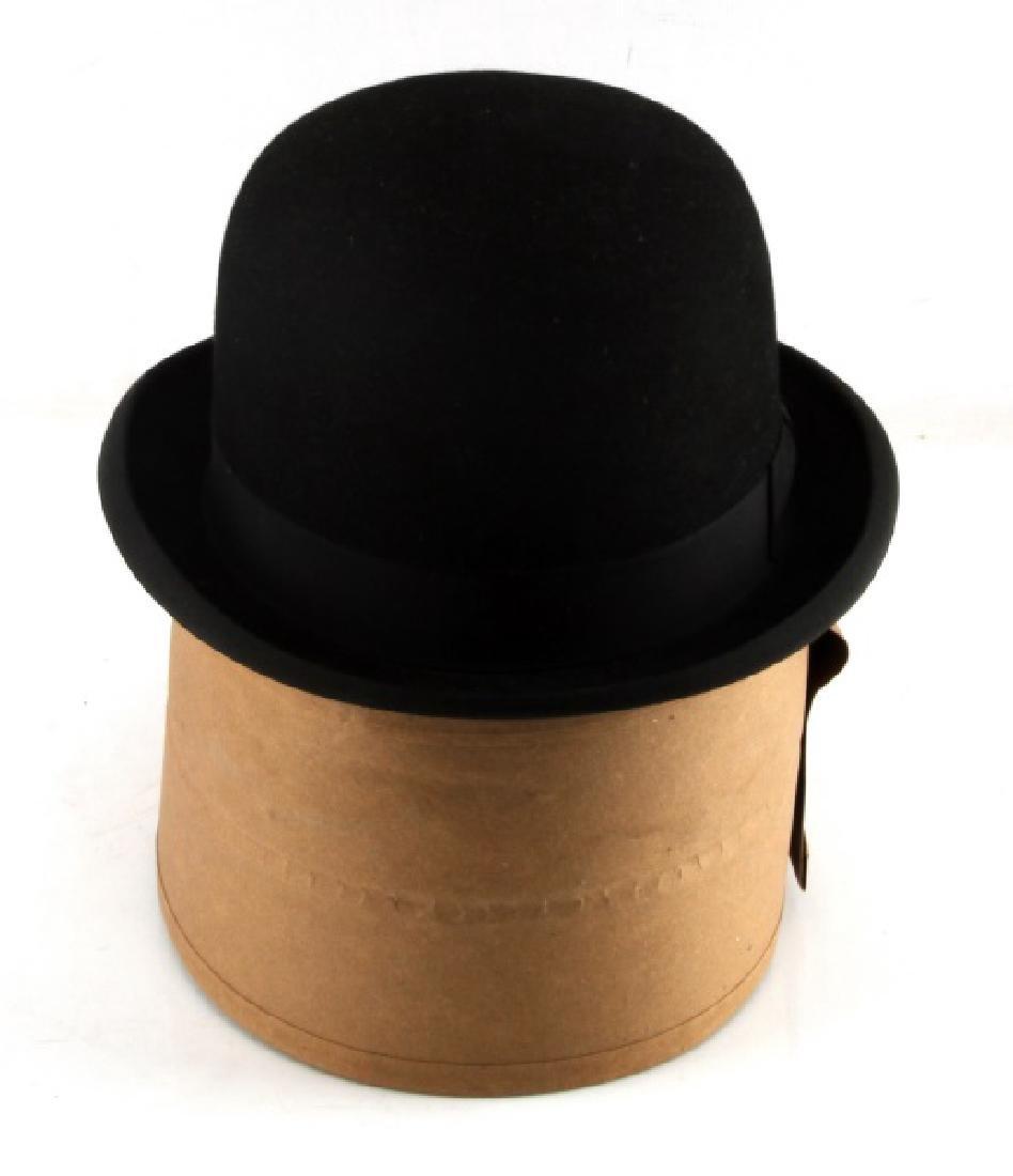 OPEN CROWN FELT CHAPLIN DERBY HAT MILLERS NEW YORK