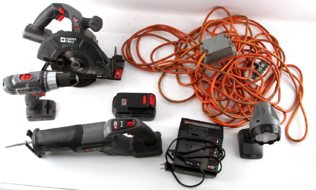 PORTER CABLE CORDLESS TOOL SET & BATTERY CHARGER
