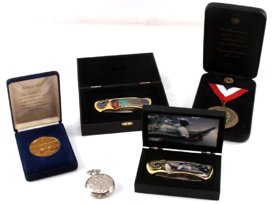 US PATRIOTIC KNIFE MEDAL AND POCKET WATCH LOT OF 5