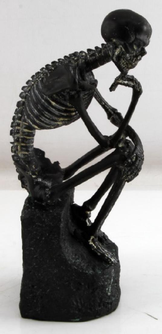 SMALL PLASTER GOTHIC SKELETON THINKER STATUE
