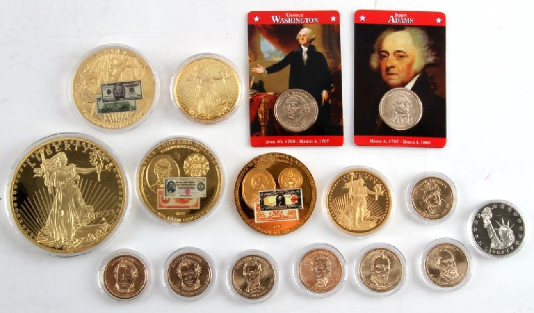 GOLD REPLICA COMMEMORATIVE COIN LOT $500 $20 16 PC