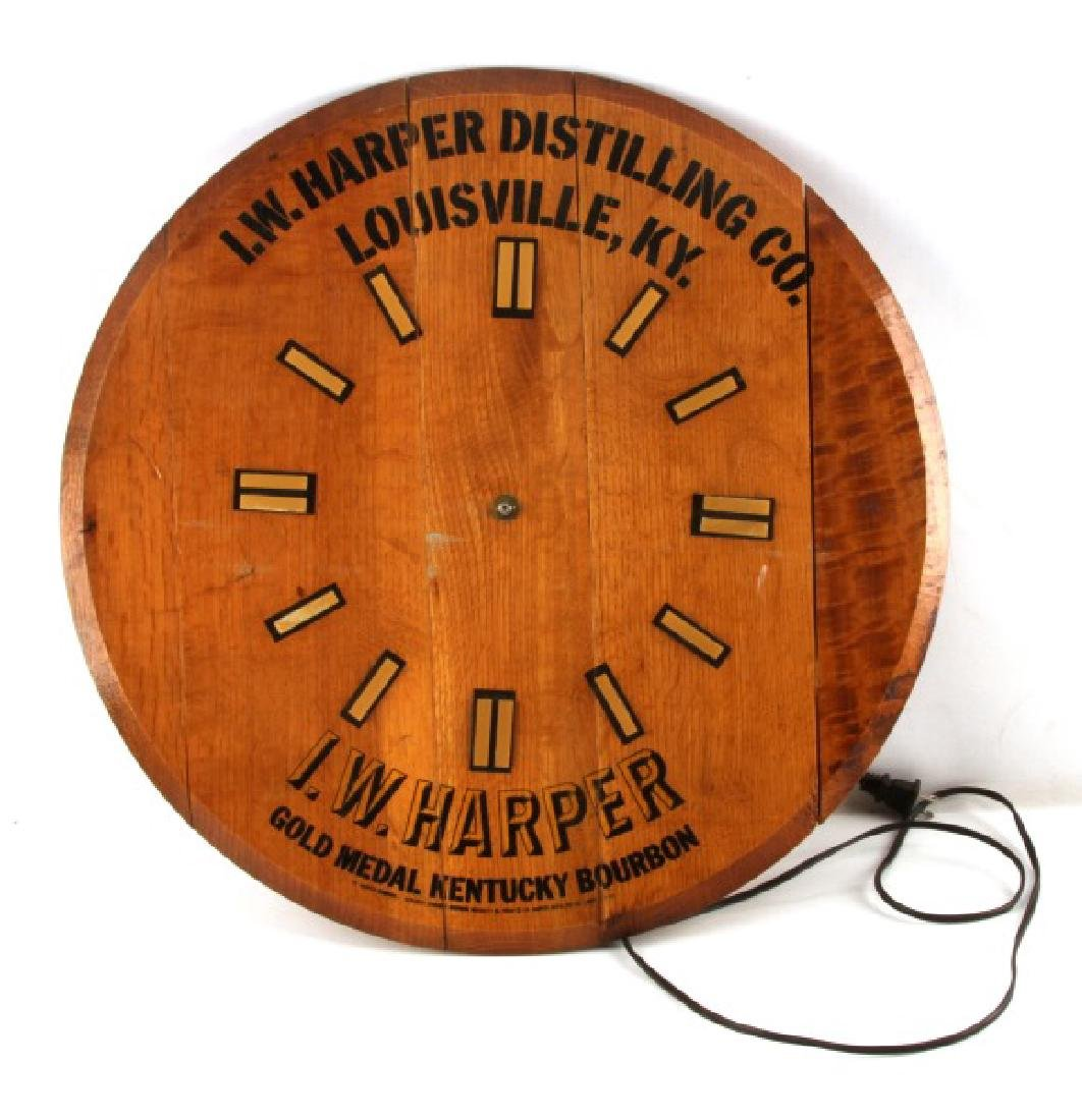 ANTIQUE WOOD I.W. HARPER BOURBON ADVERTISING CLOCK