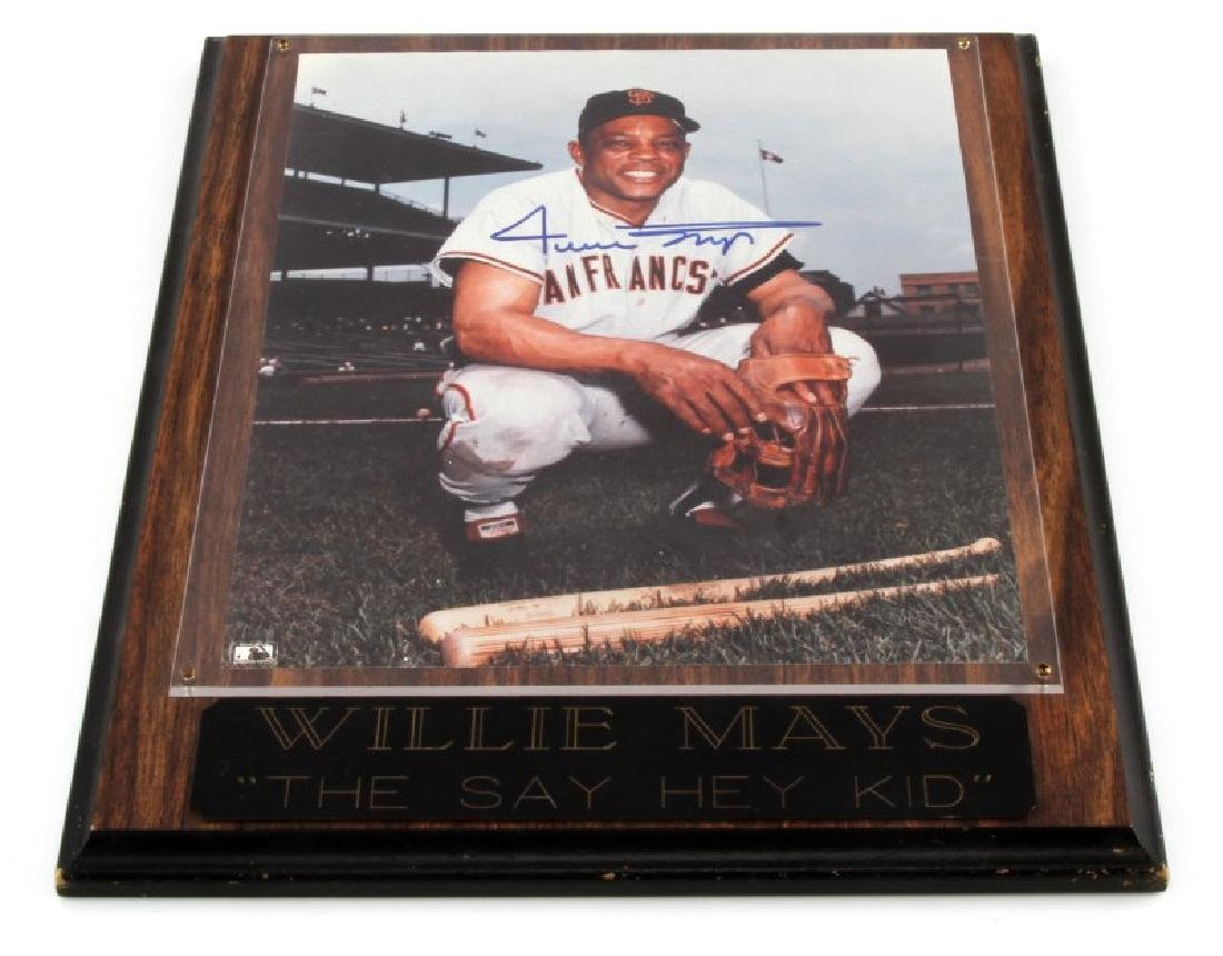 WILLIE MAYS SIGNED PLAQUE W COA MLB