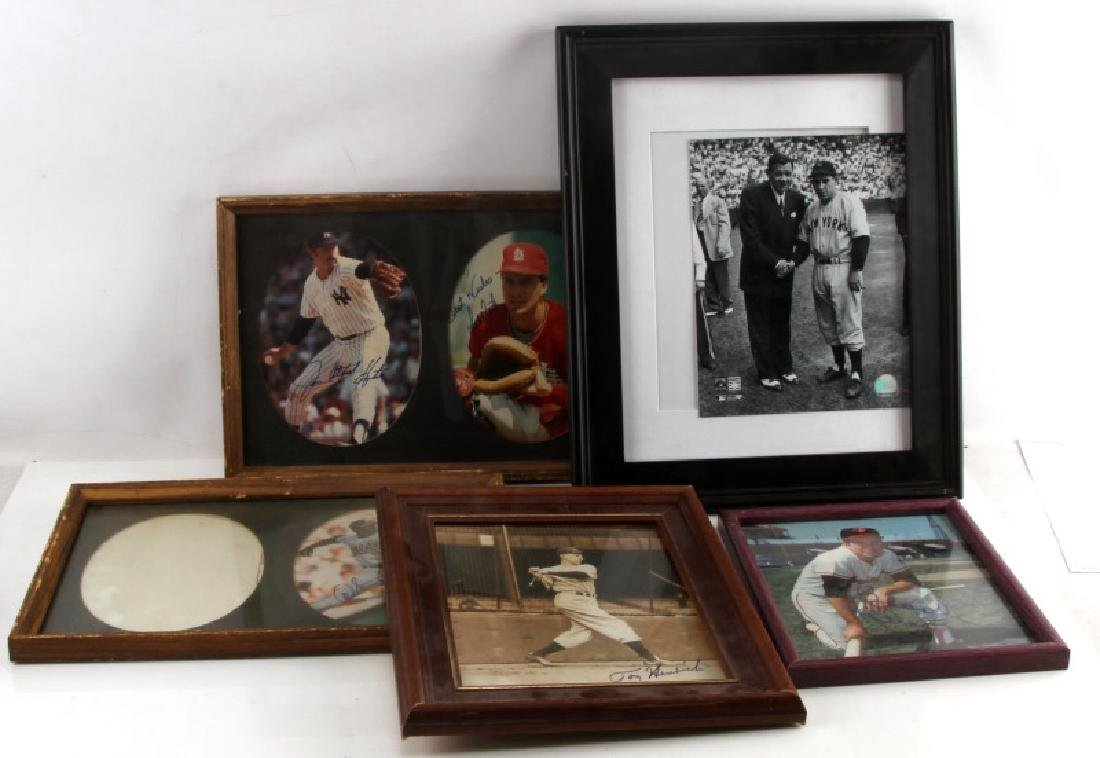 LOT OF 6 SIGNED VINTAGE MLB FRAMED PHOTOGRAPHS